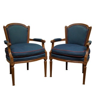 French Louis XVI Style Fauteuil Armchairs - A Pair