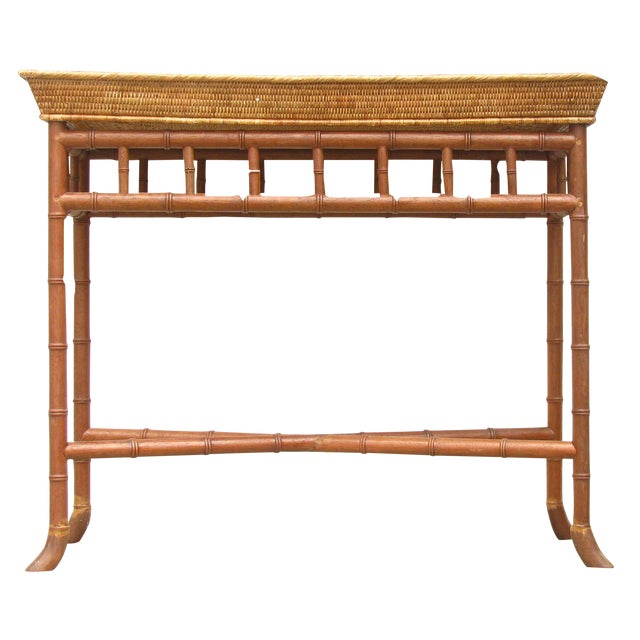 Wisteria Bamboo/Basket Console - Image 1 of 6