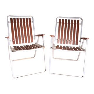 Mid Century Redwood Aluminum Folding Patio Chairs - A Pair