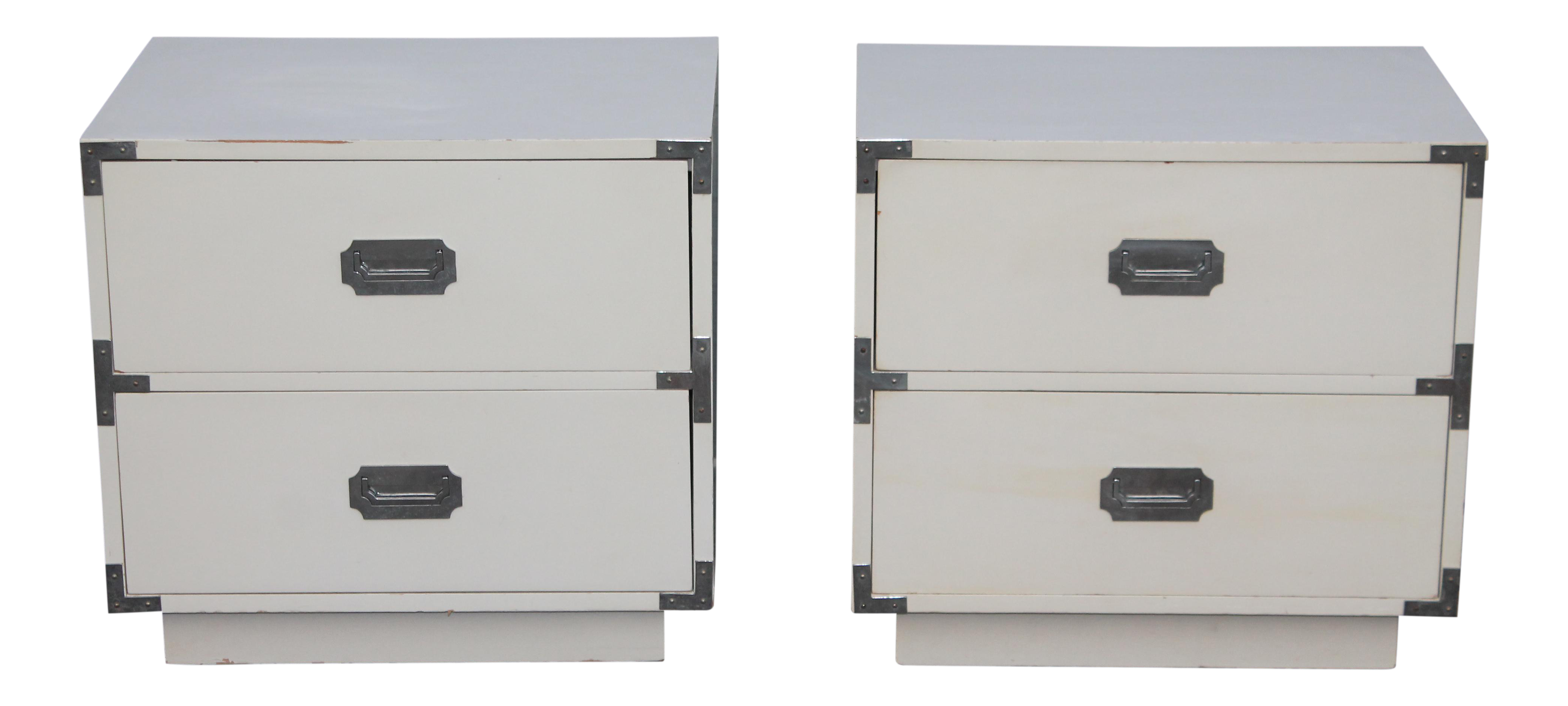 stunning white lacquer nightstand furniture. midcentury white lacquer and chrome campaign nightstands a pair stunning nightstand furniture