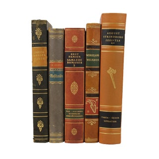 Art Deco Leather Bound Books - Set of 5
