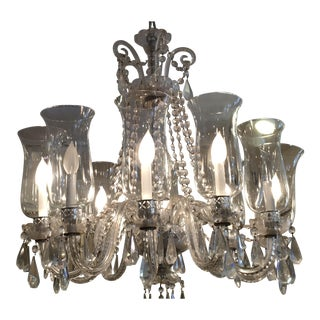 Traditional Vintage Irish Crystal Chandelier With Hurricane Shades