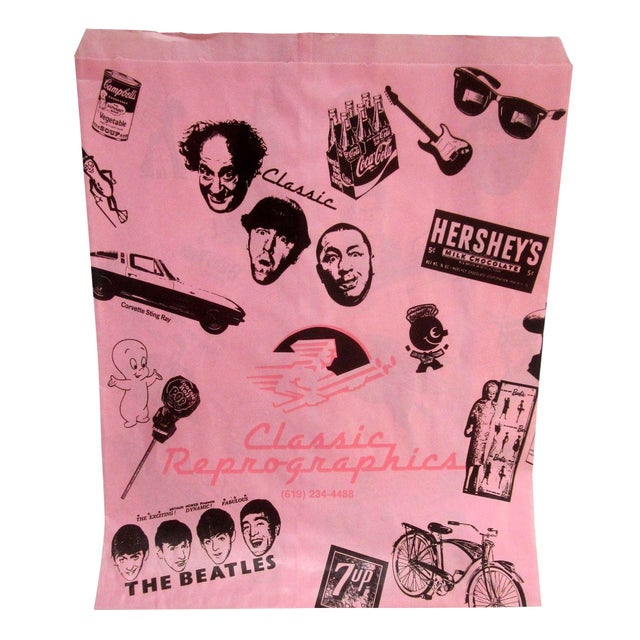 Vintage Pink Graphic Paper Bags - Set of 10 - Image 1 of 6
