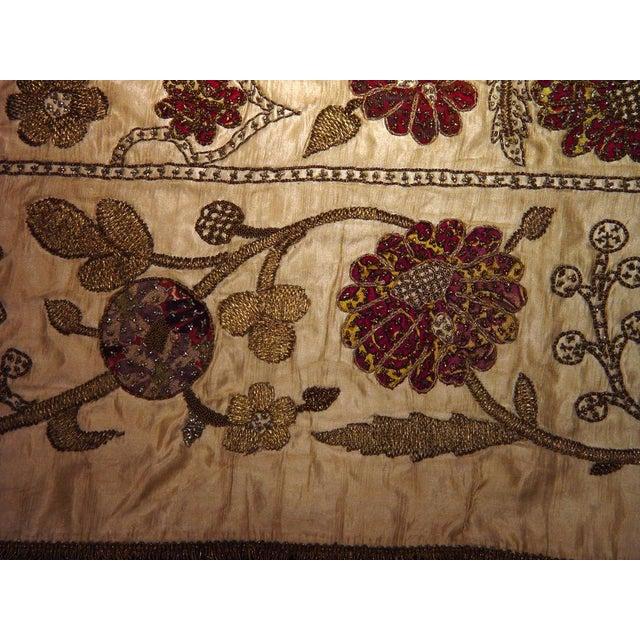 Large Ottoman Large Silkwork Textile Botanical Embroidery Hanging - Image 6 of 9