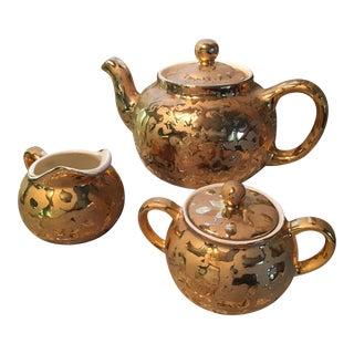24 Karat Gold Splatter Tea Set - 3 Pieces