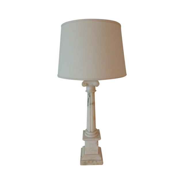 Antique French Marble Column Lamp - Image 1 of 5