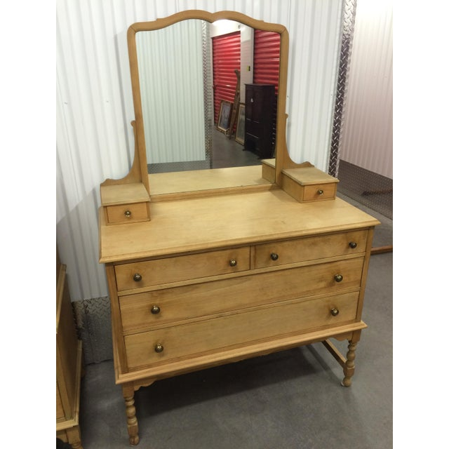 1940's Solid Wood Dresser with Mirror - Image 8 of 9