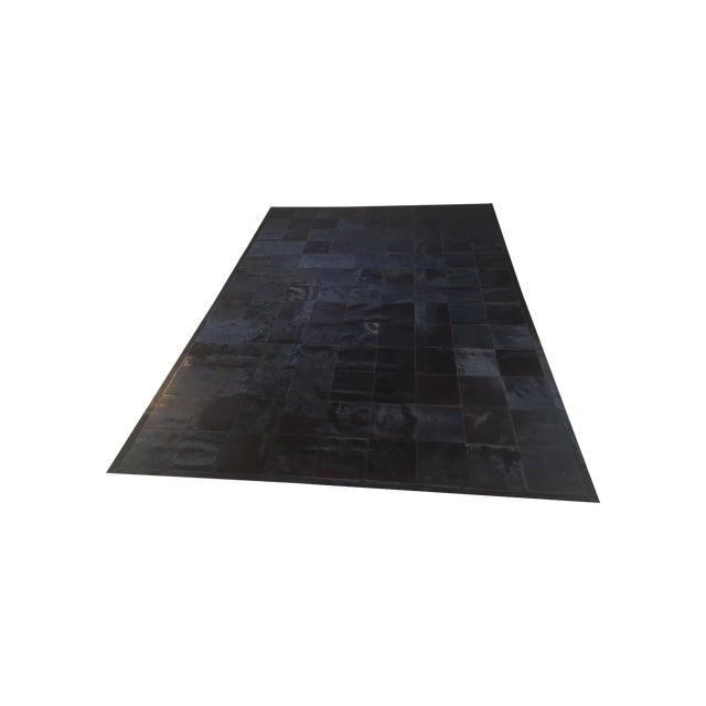 Cow Hide Tile Rug - Dark Brown 6' X 9' - Image 1 of 6