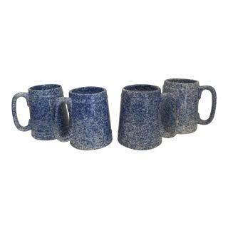 Blue Spongeware Mugs - Set of 4