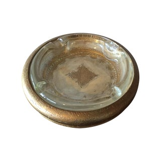 Italian Florentine Wood & Glass Ashtray