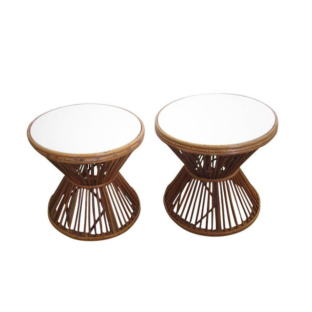 Franco Albini-Style Rattan Side Tables - A Pair - Image 1 of 8