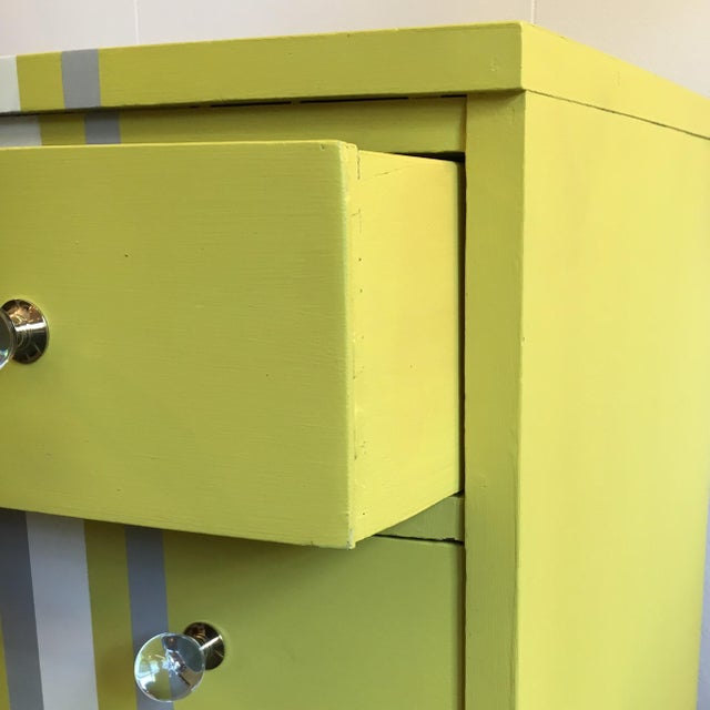 Image of Grey & White Striped Chest of Drawers