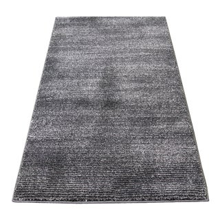 Black & Gray Stripe Rug - 3′ × 5′