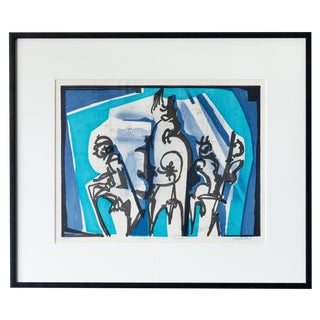 1960s Vintage Abstract Signed Serigraph