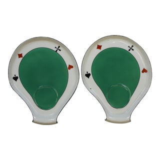 Fab Pair of Playing Card Bavarian Porcelain Dishes