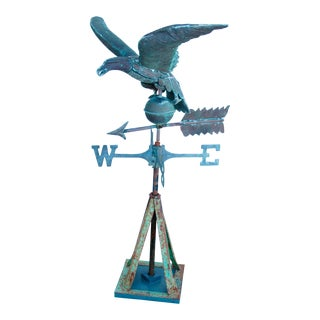 Vintage Copper American Eagle Weathervane With Stand
