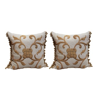 Antique Gold Appliqued Linen Pillows - A Pair