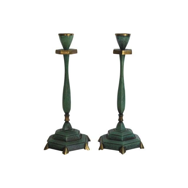 Verdigris Candlesticks - Pair - Image 1 of 4