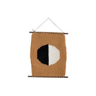 Modern Geometric Woven Mustard Black & White Wall Hanging