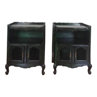 Vintage French Provincial Emerald Nightstands - a Pair