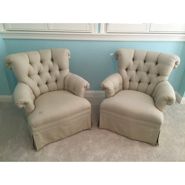 Tufted French Chairs - A Pair - Image 2 of 10