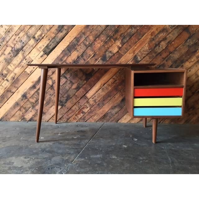 Mid-Century-Style Color Block Desk - Image 2 of 5