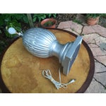 Image of Large Silver Ceramic Artichoke Lamp