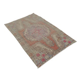 Turkish Distressed Area Rug Hand Knotted Wool Oushak Rug 4'1'' x 6'