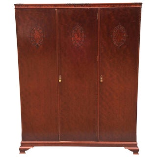 Wylie & Lochhead Antique Triple Wardrobe Victorian Mahogany Armoire Mirror Key