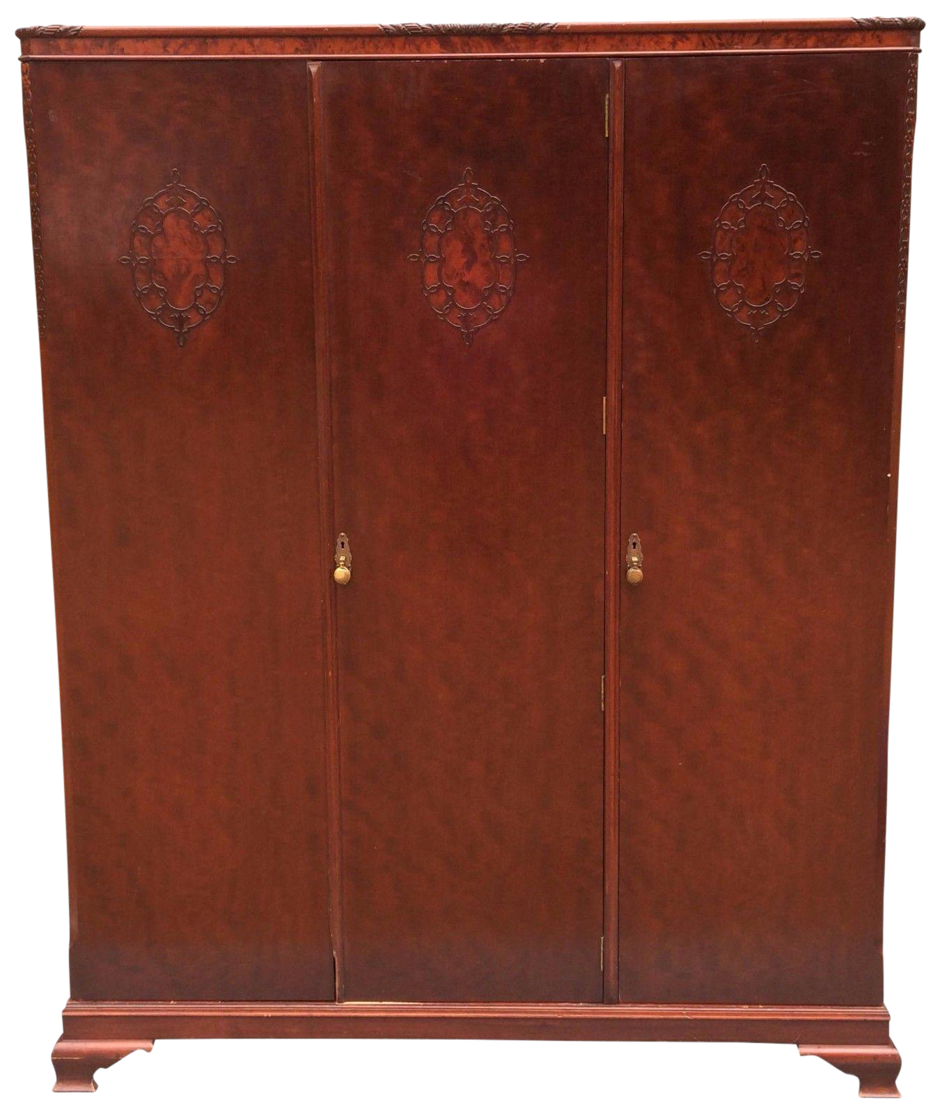 Wylie U0026 Lochhead Antique Triple Wardrobe Victorian Mahogany Armoire Mirror  Key