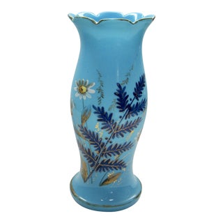 French Opaline Victorian Hand Painted Vase