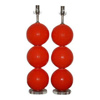 Joe Cariati Handblown Ball Lamps in Orange