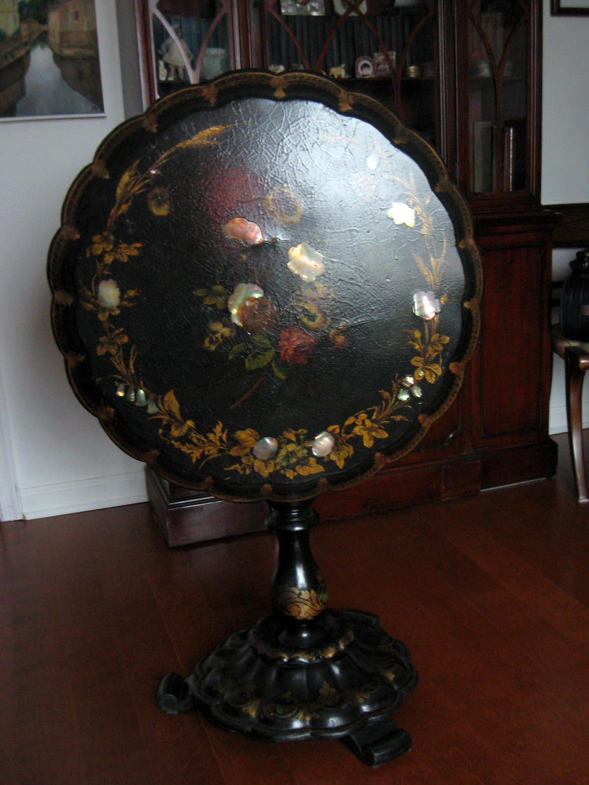 Antique Paper Mache Tilt Top Table With Mother Of Pearl Inlays   Image 3 Of  8
