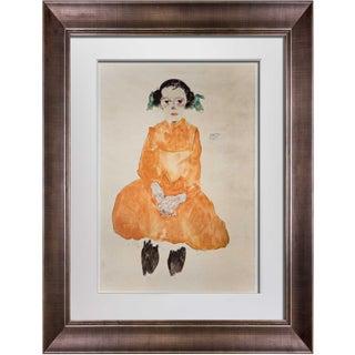 Egon Schiele Framed Lithograph Girl in Yellow Dress