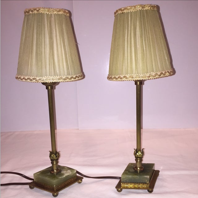 Vintage Brass & Marble Table Lamps - A Pair - Image 2 of 6