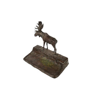 Bronze Moose Sculpture Inkwell