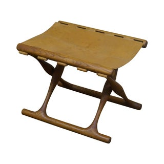 Poul Hundevad 1960s Teak & Leather X Base Stool
