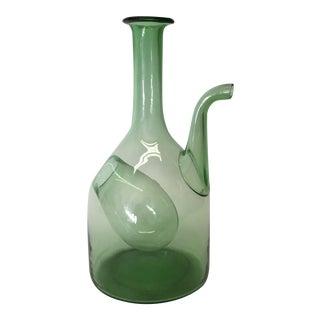Handblown Green Glass Wine Decanter