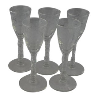 Libbey Etched Cordial Glasses- Set of 5