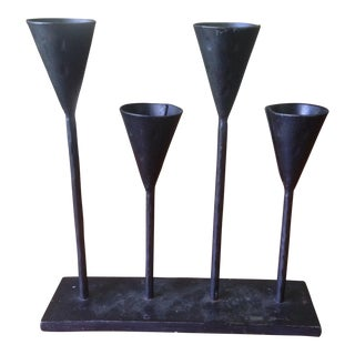 Vintage Modernist Black Metal Candle Holder