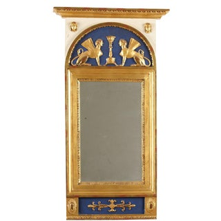 19th Century C Werné Norrtälje Empire Trumeau Mirror