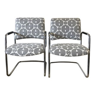 Modern Chrome & Upholstered Chairs - A Pair