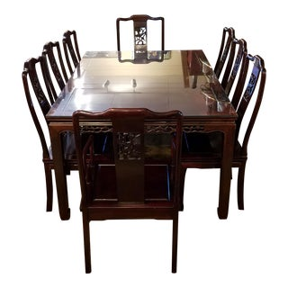 Chinese Hand Carved Rosewood Dining Set for Eight