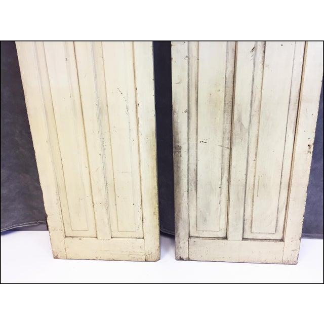 Image of Vintage Rustic Yellow Milk Painted Cabinet Doors - A Pair