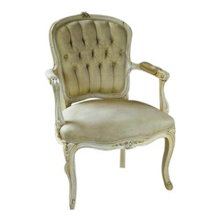 Louis XV French Silk Tufted Fauteuil Armchair
