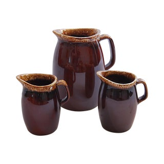Hull Vintage Brown Drip Glaze Pitchers - Set of 3
