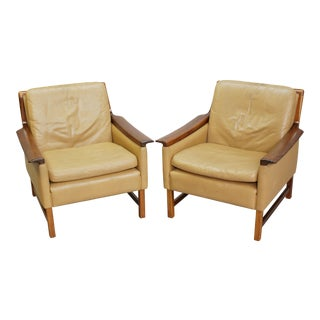 Leather Club Chairs by Torbjorn Afdal - Pair