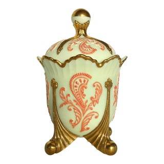 Gold & Coral Custard Glass Lidded Dish