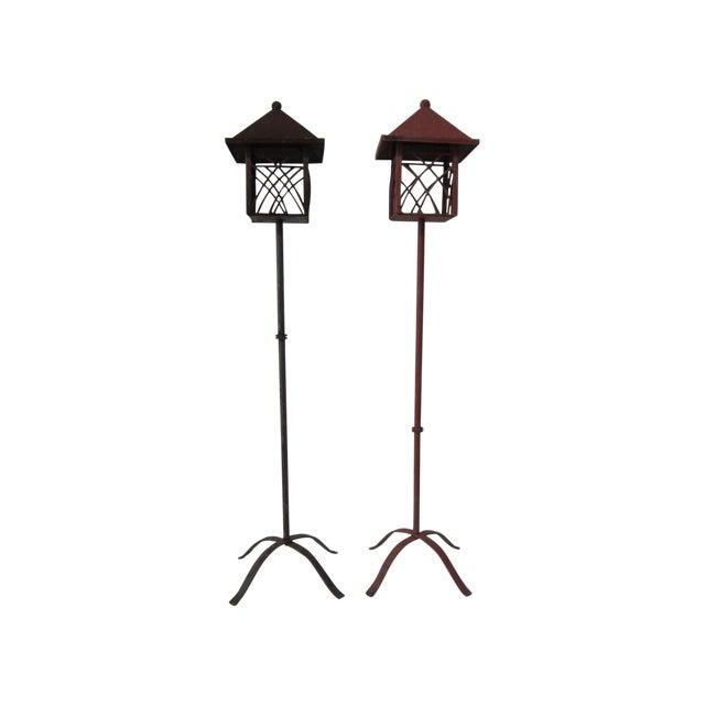 Metal Outdoor Lanterns - Pair - Image 1 of 5