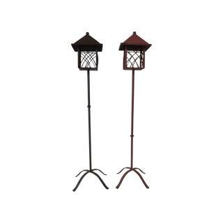 Metal Outdoor Lanterns - Pair